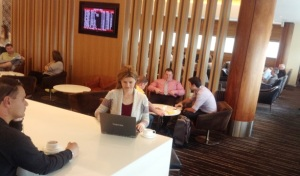 Working on the book in the Qantas lounge