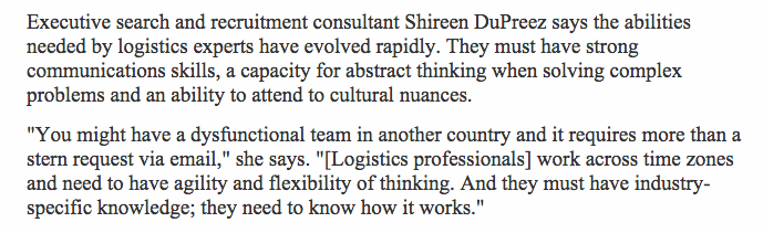 Shireen DuPreez - Quote in the Australian 2013