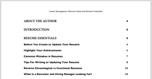 Resumes - Table of Contents - 1
