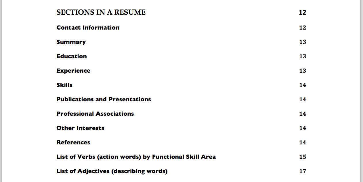 resumes ebook shireen dupreez resumes table of contents 2