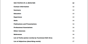Resumes - Table of Contents - 2