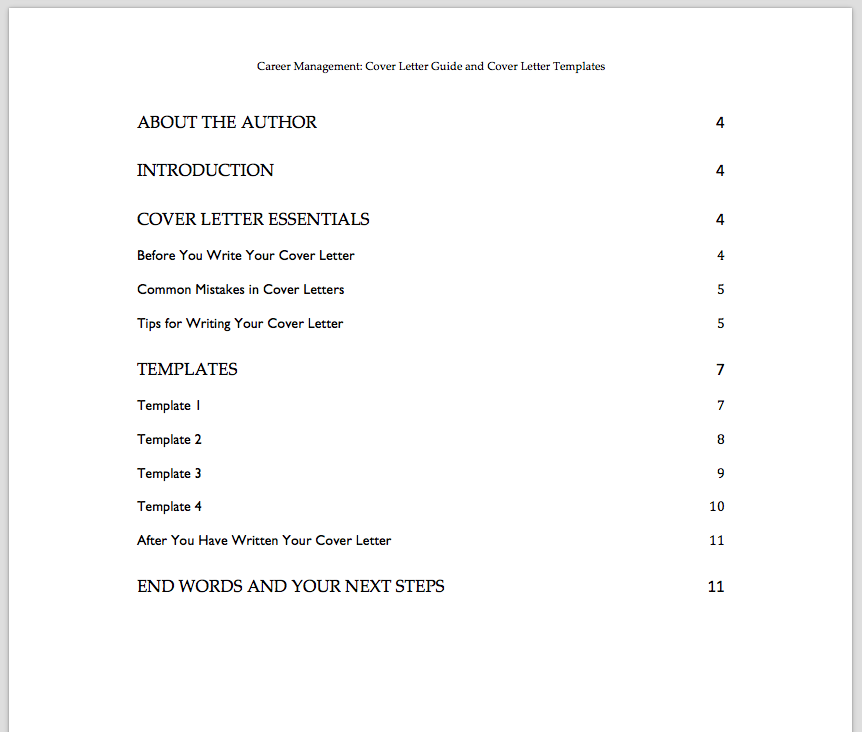 table of contents cover letters ebook
